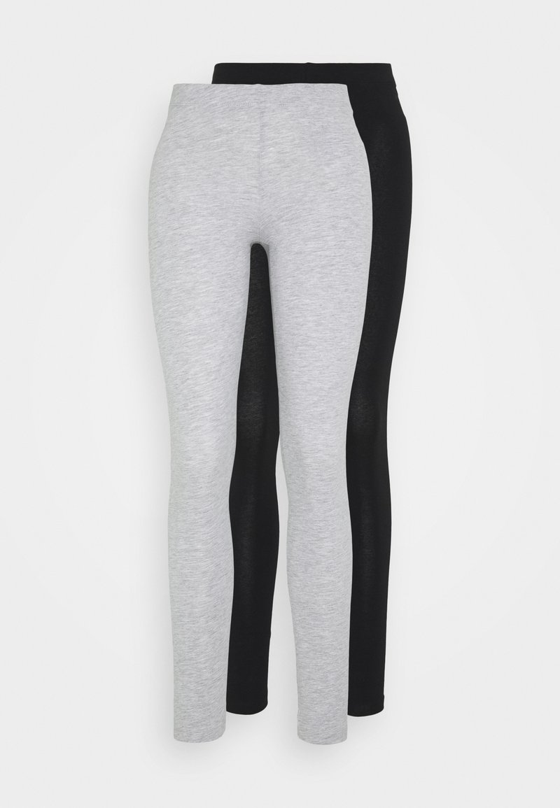 Even&Odd - 2 PACK - Leggings - Trousers - mottled light grey/black