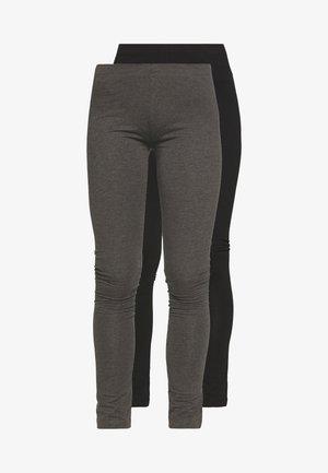 2 PACK - Leggings - black/mottled dark grey