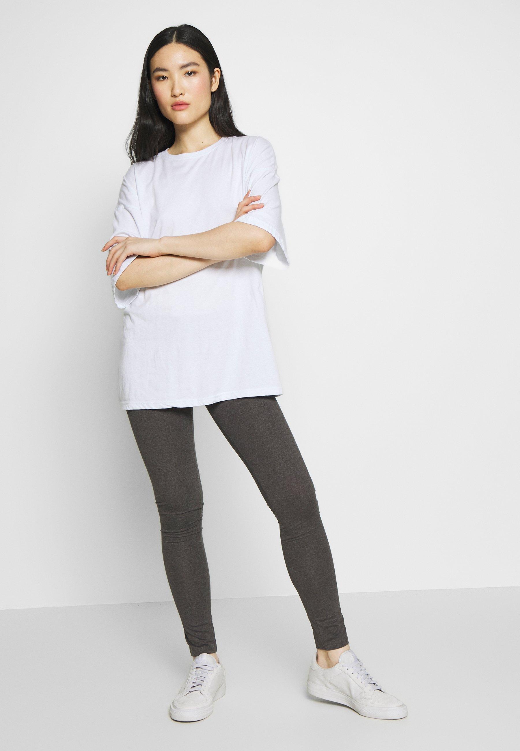 Even&Odd 2 PACK - Leggings - black/mottled dark grey rcgT46Br