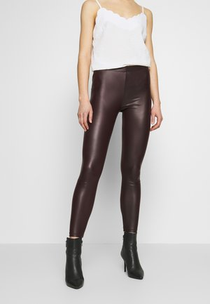 Wet Look Leggings - Leggings - bordeaux