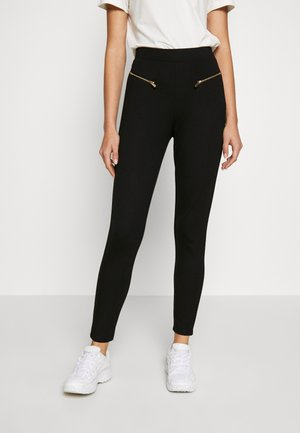 PUNTO WITH ZIP DETAIL - Leggings - black