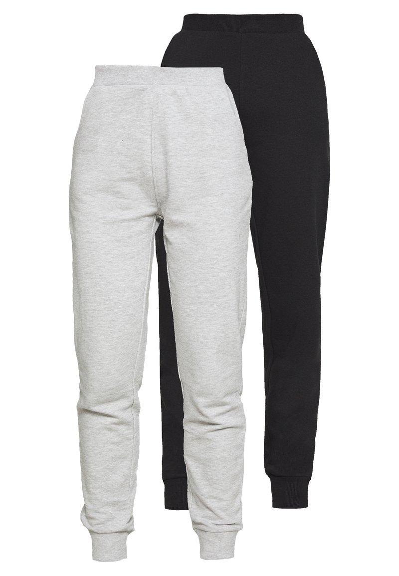 Even&Odd - 2 PACK - Tracksuit bottoms - black/light grey