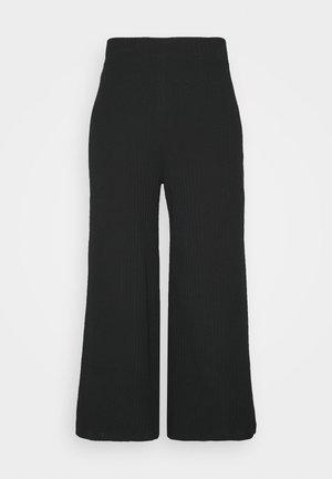 Wide Cropped Pants - Broek - black