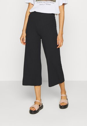 Wide Cropped Pants - Trousers - black