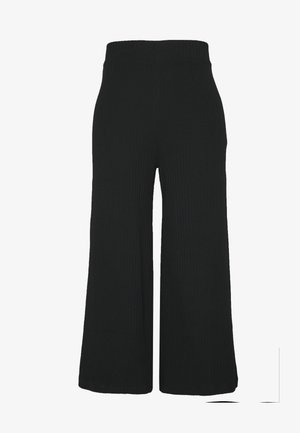 Wide Cropped Pants - Kangashousut - black