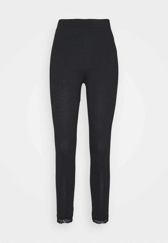 LEGGINGS WITH LACE - Leggings - Trousers - black