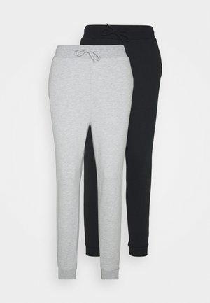2 PACK SLIM FIT JOGGERS - Joggebukse - mottled light grey/black