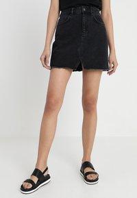 Even&Odd - A-line skirt - black denim - 0