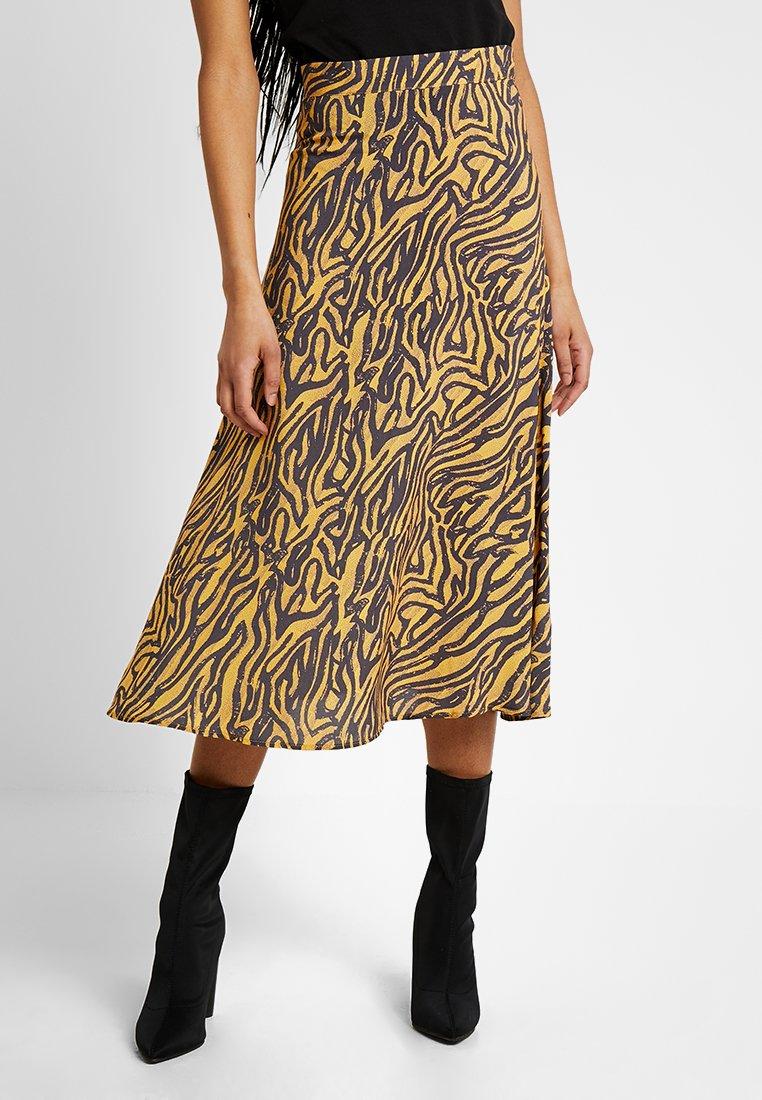 Even&Odd - A-line skirt - light brown/black