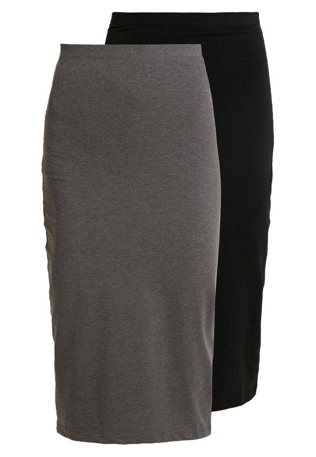 BASIC - 2ER PACK MIDI SKIRTS - Kokerrok - black/ grey