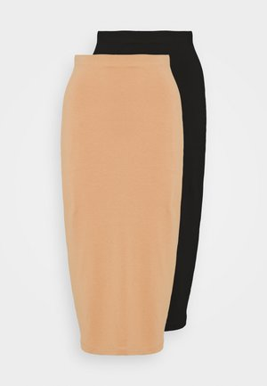 2 PACK - Pencil skirt - black/camel
