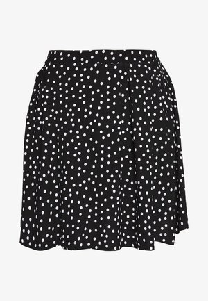 BASIC - MINI A-LINE SKIRT - Spódnica trapezowa - white/black
