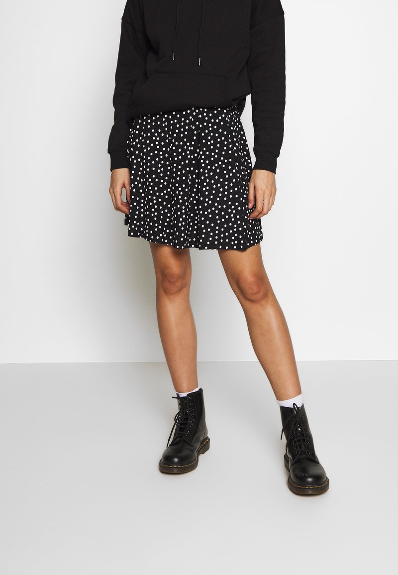 Even&Odd - BASIC - MINI A-LINE SKIRT - A-lijn rok - white/black