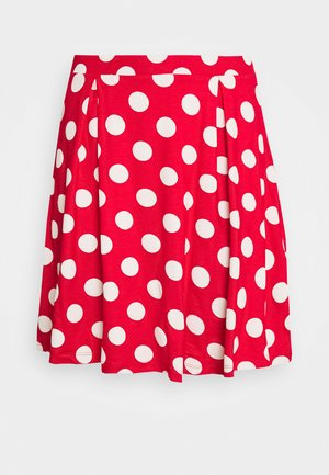 A-line skirt - goji berry/white