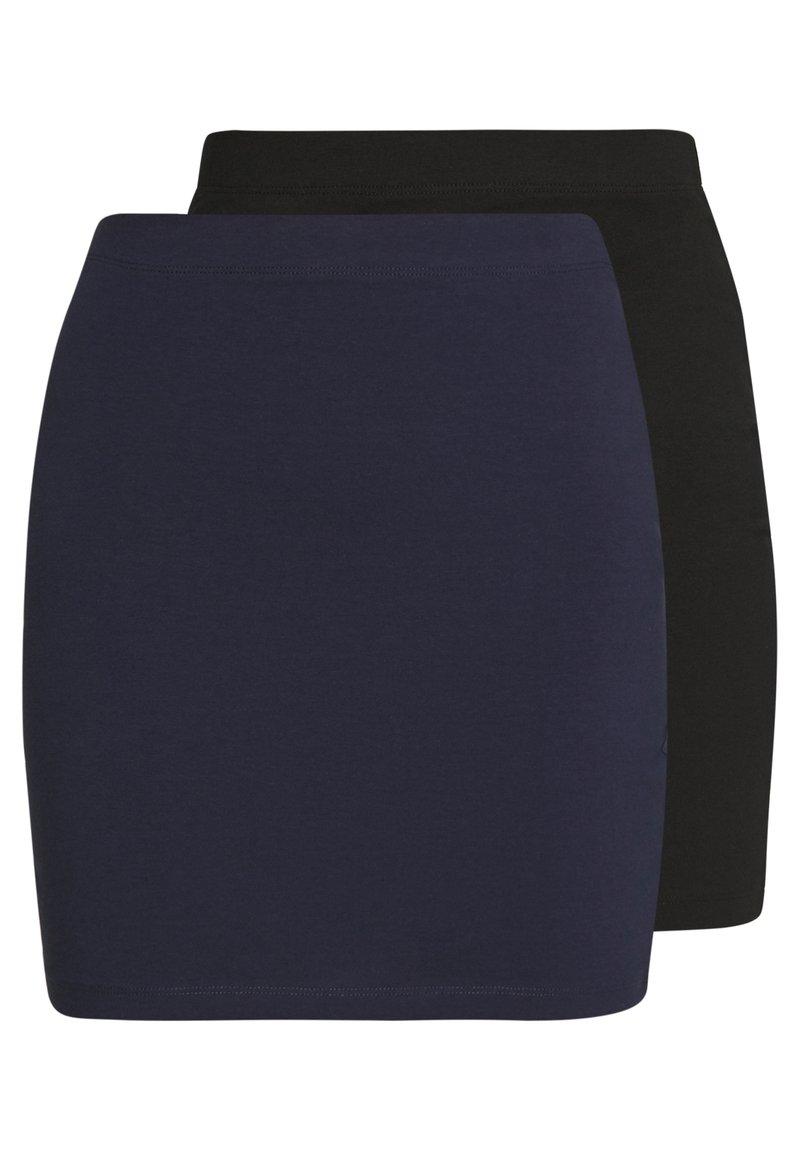 Even&Odd - BASIC- 2ER PACK MINI SKIRTS - Pencil skirt - black/peacoat