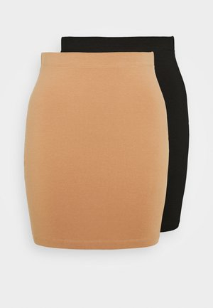 BASIC- 2ER PACK MINI SKIRTS - Pencil skirt - black/camel