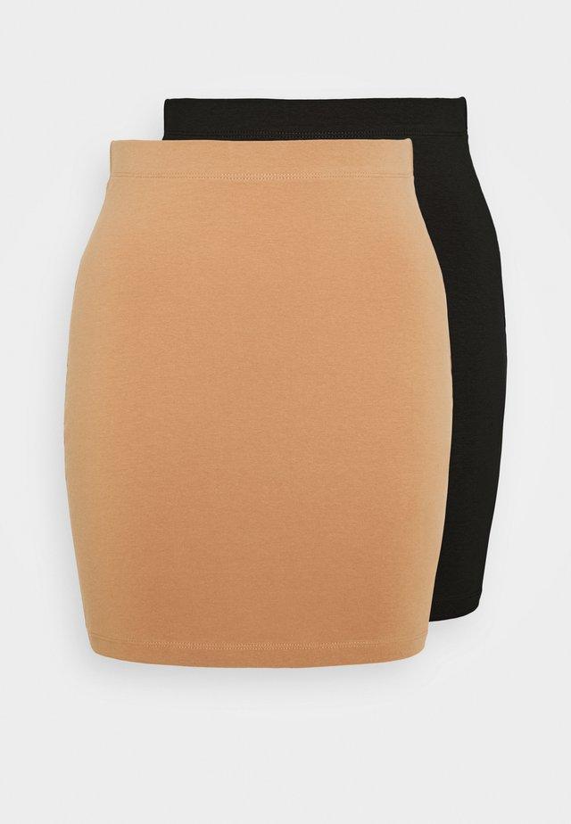 BASIC- 2ER PACK MINI SKIRTS - Blyantnederdel / pencil skirts - black/camel
