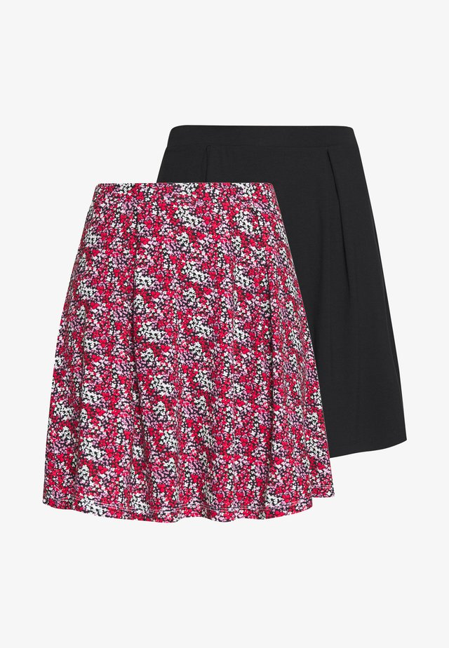 2 PACK - A-line skirt - black/red