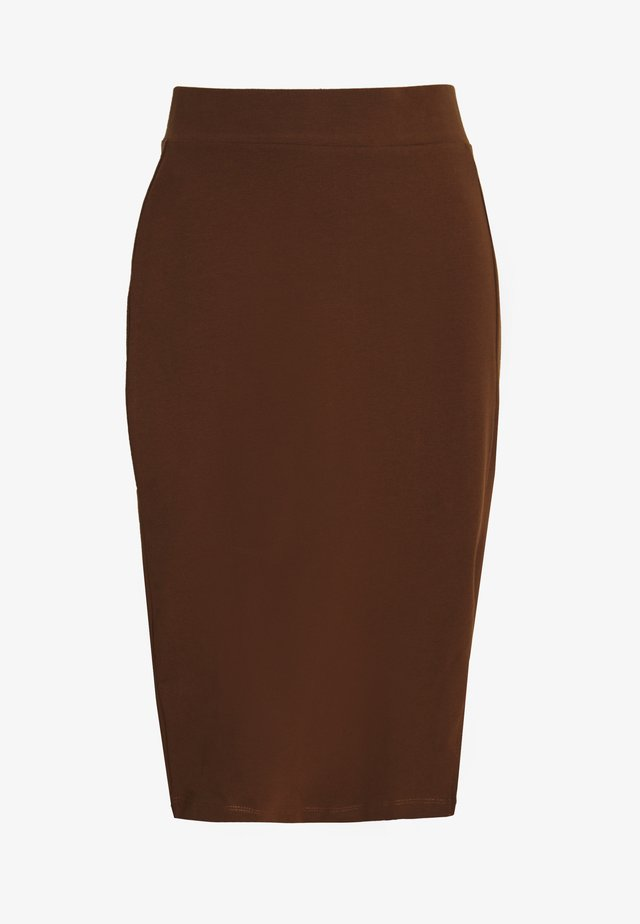BASIC - Pencil skirt with slit - Pencil skirt - dark brown