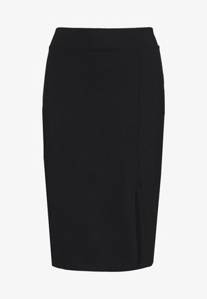 BASIC - Midi skirt with slit - Falda de tubo - black