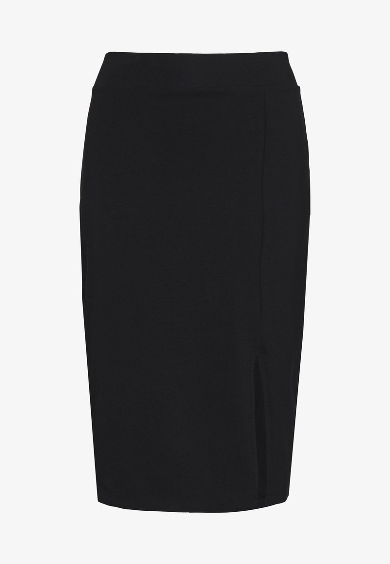 Even&Odd - BASIC - Midi skirt with slit - Pencil skirt - black