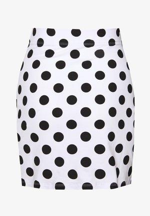 BASIC - Mini skirt with slit - Minigonna - white/black