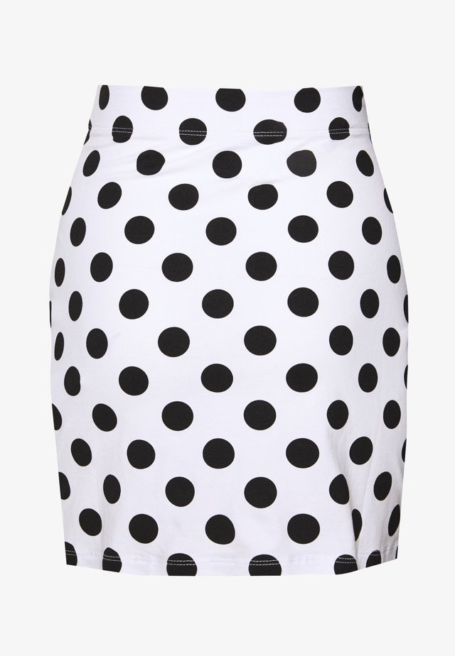 BASIC - Mini skirt with slit - Minisukně - white/black