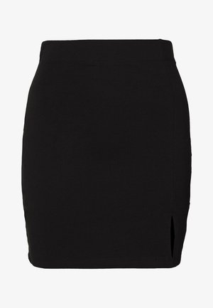 BASIC - Mini skirt with slit - Minigonna - black