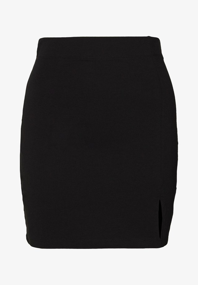 BASIC - Mini skirt with slit - Minihame - black