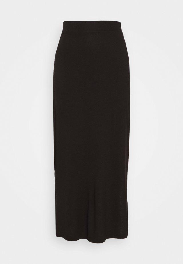 BASIC - MAXI SKIRT WITH SLIT - Maxi skirt - black