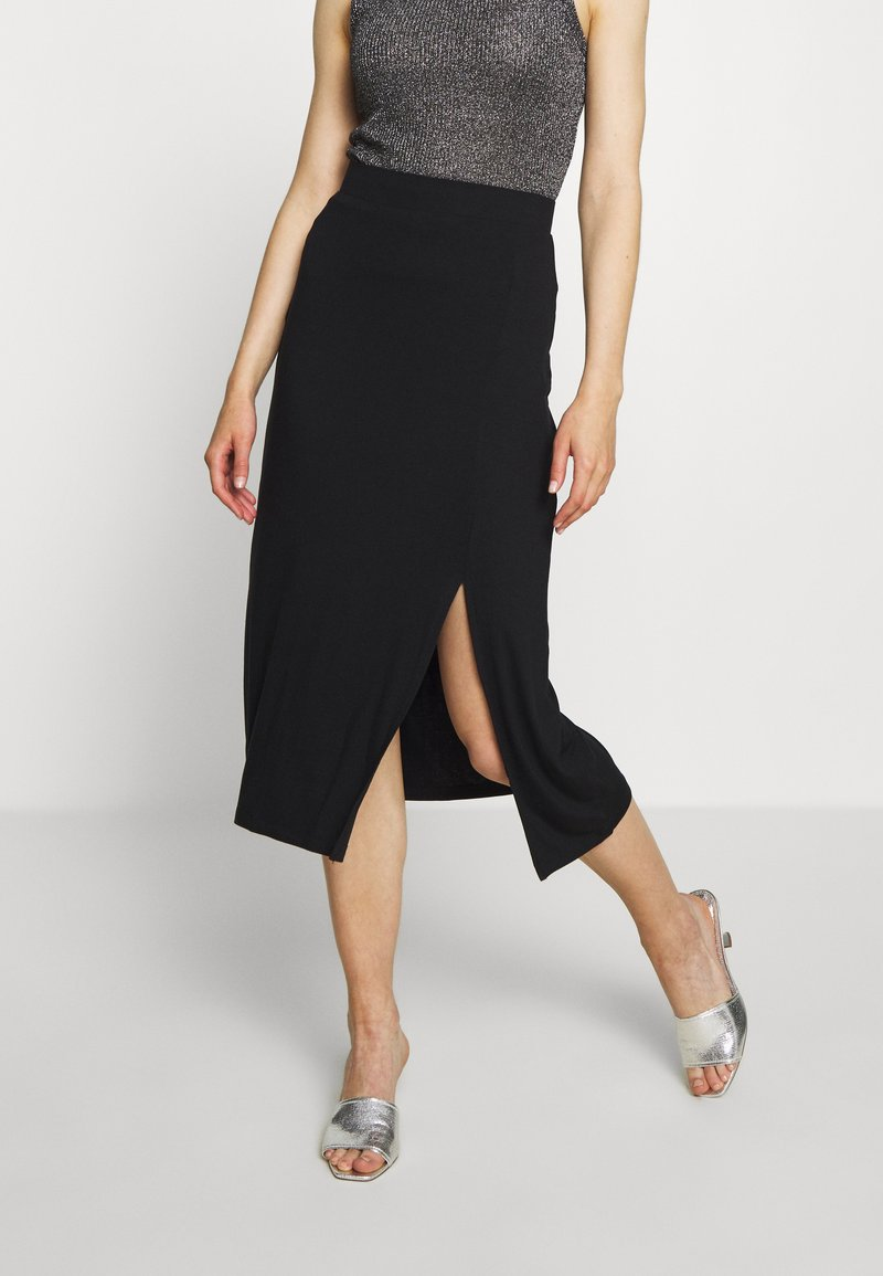 Even&Odd - BASIC - Midi skirt with slit - A-line skjørt - black