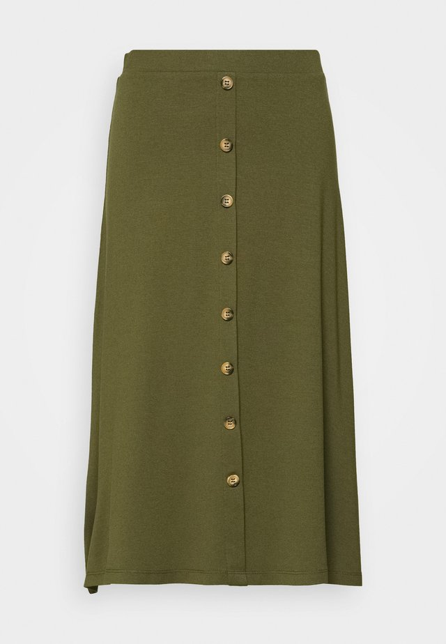 BASIC - BUTTONS MIDI SKIRT - A-Linien-Rock - olive night