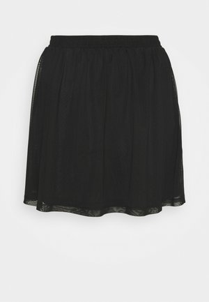 BASIC - MESH MINI SKIRT - Minisukně - black
