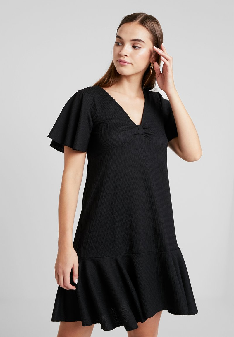 Even&Odd - KNOT FRONT RUSTIC DRESS WITH RUFFLE - Day dress - black
