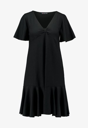 KNOT FRONT RUSTIC DRESS WITH RUFFLE - Denní šaty - black