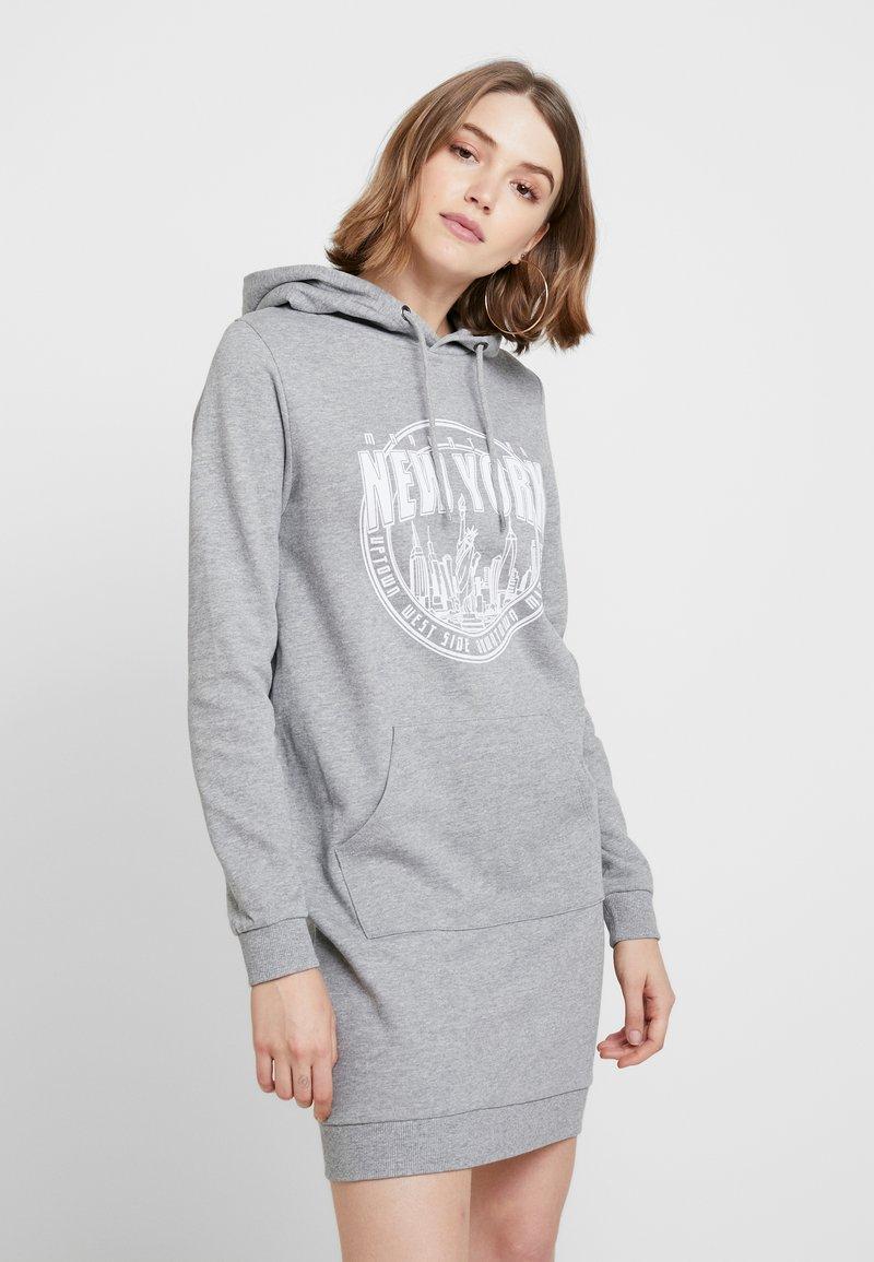 Even&Odd - OVERSIZED HOODIE DRESS - Freizeitkleid - mid grey melange