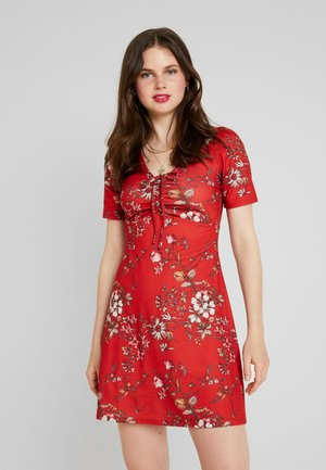 Day dress - red floral aop