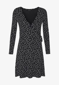 Even&Odd - FAKE WRAP DRESS - Jerseyjurk - black/white