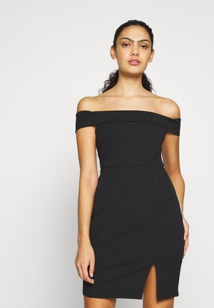 DRESS OFF SHOULDER - Etui-jurk - black