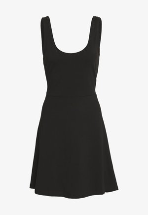BASIC - FIT AND FLARE MINI DRESS - Žerzejové šaty - black