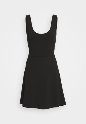BASIC - FIT AND FLARE MINI DRESS - Jersey dress - black