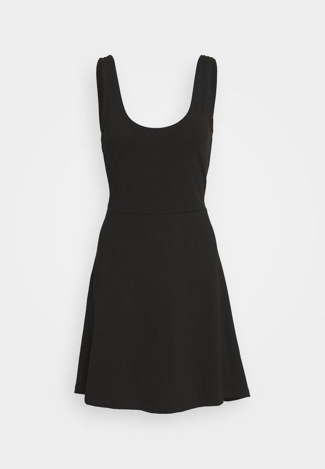 FIT AND FLARE DRESS WITH SCOOP FRON - Vestito di maglina - black