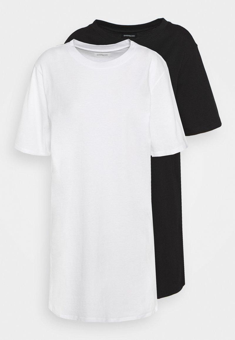 Even&Odd - BASIC 2 PACK JERSEYKLEID - Jersey dress - white/black