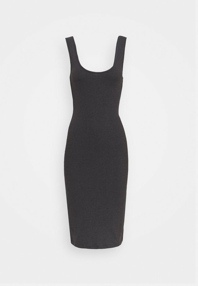 BASIC JERSEYKLEID - Fodralklänning - mottled dark grey