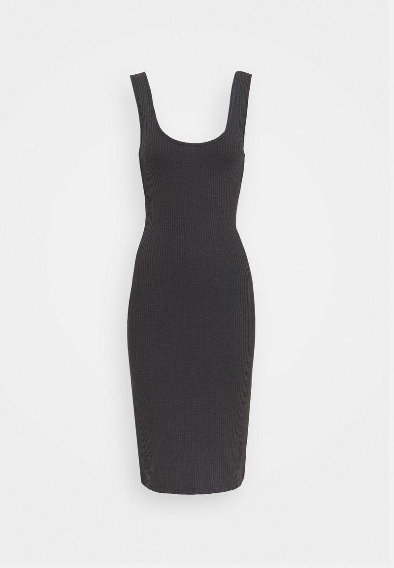 Even&Odd - BASIC JERSEYKLEID - Shift dress - mottled dark grey
