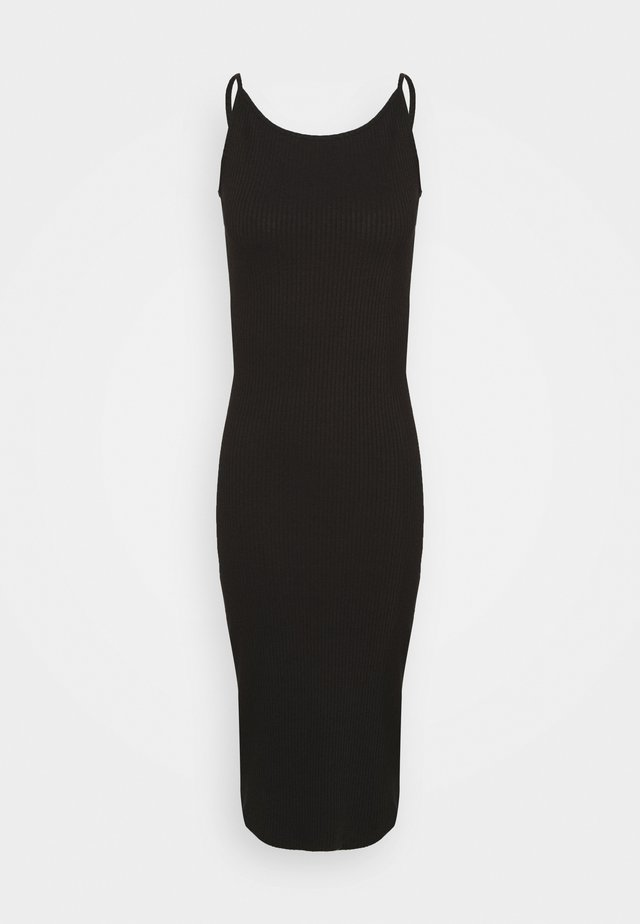 SPORTY BODY CON DEEP BACK DRESS - Korte jurk - black