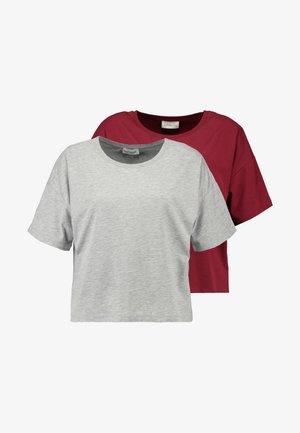 2 PACK - T-shirt basic - grey/bordeaux