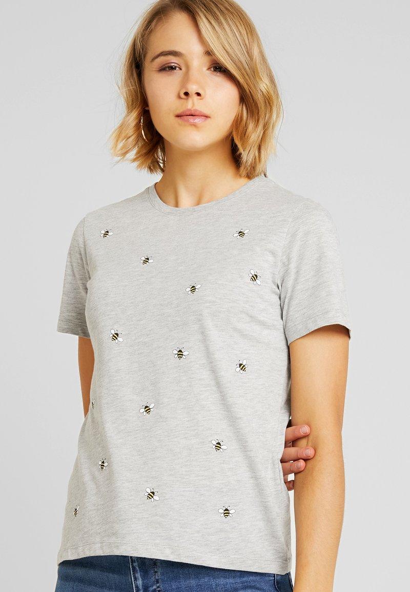 Even&Odd - Print T-shirt - mottled light grey