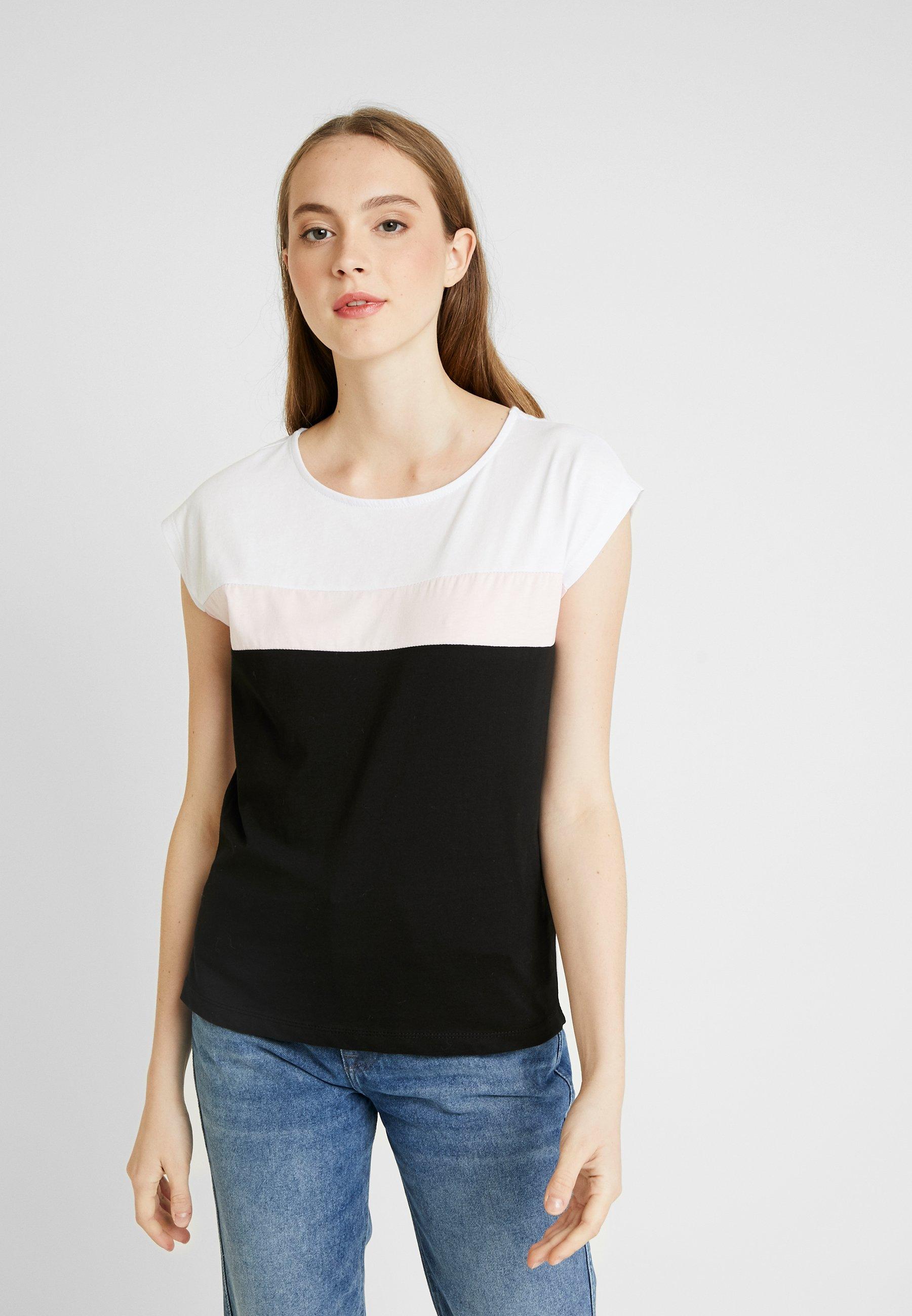 Even&Odd T-shirt z nadrukiem - black/white/rose