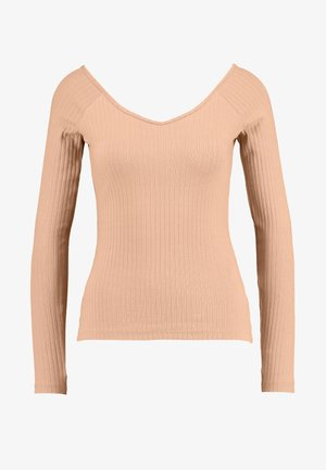 Long sleeved top - dark tan
